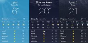 Comparatif météo Lyon Argentine