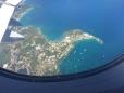 Corfu vue de l'avion notre hôtel sur la pointe et le club nautique en vert