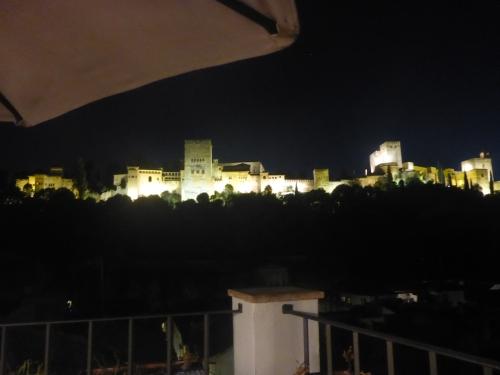La vue sur la Alhambra de notre terrasse