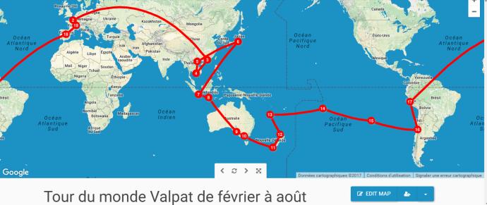 La carte du tour du monde de Valpat février à août 2017